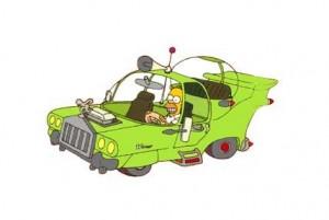 הומר סימפסון במכונית שהוא עיצב